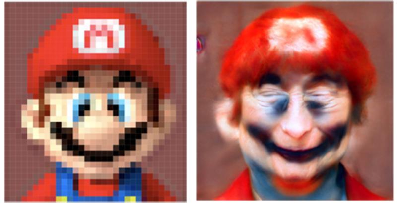 Mario después de pasar por Face Depixelizer
